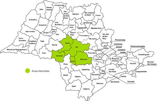 Mapa de cidades atendidas em São Paulo